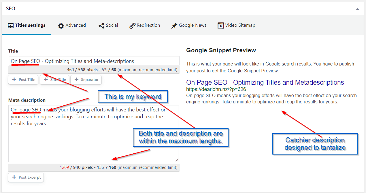 On page seo - optimized titles and meta description
