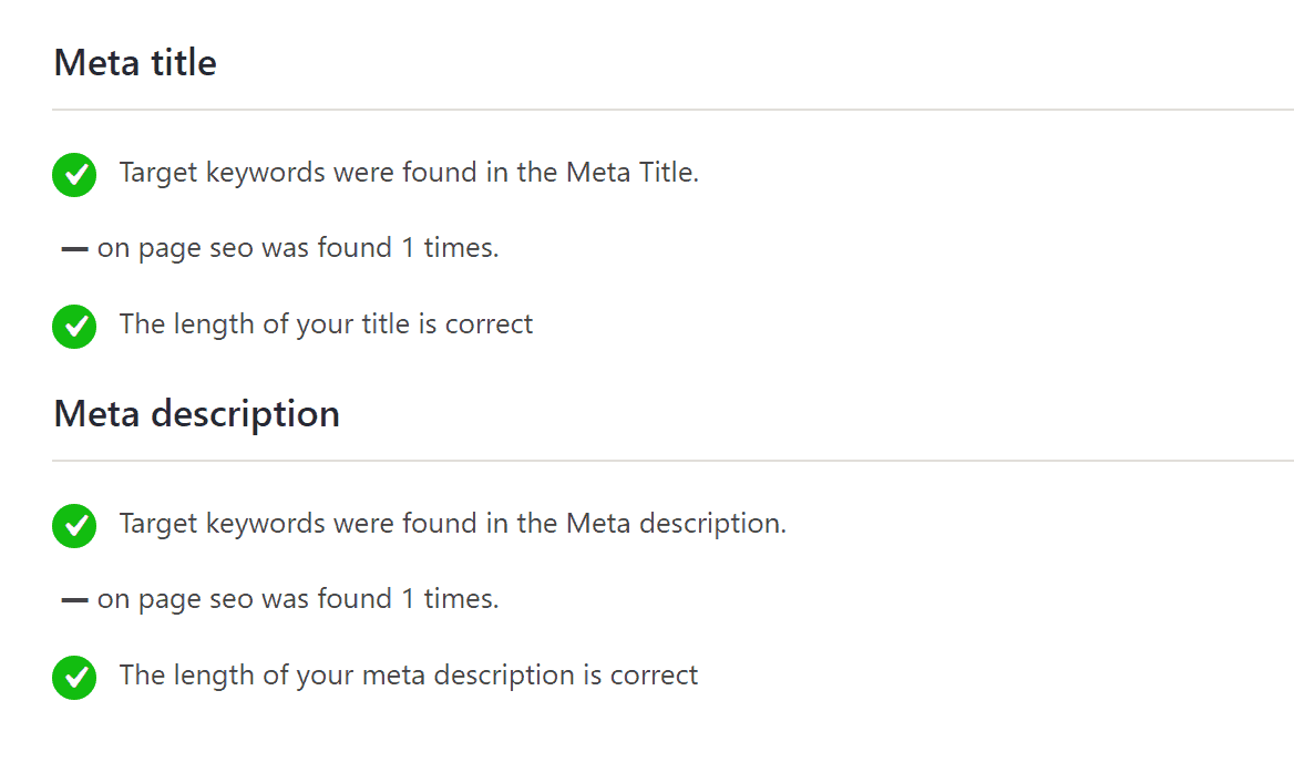correct optimization on page for titles and description