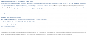 Chinese Domain Name Spam Email